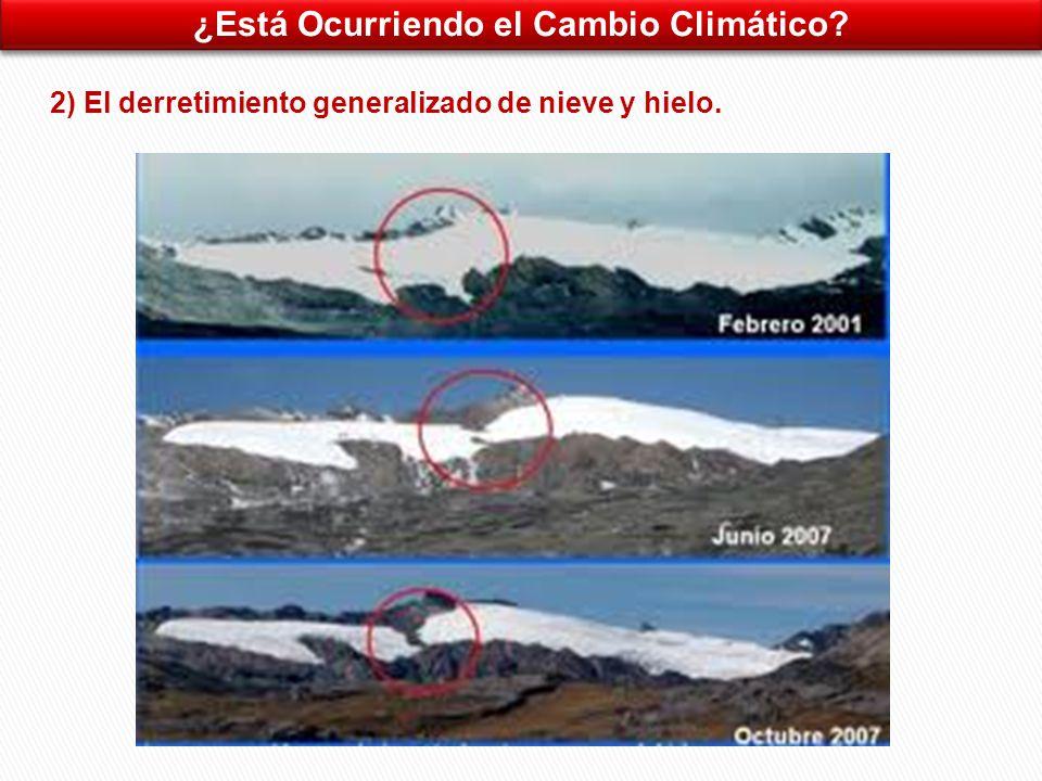 ¿Está Ocurriendo el Cambio Climático 2) El derretimiento generalizado de nieve y hielo.
