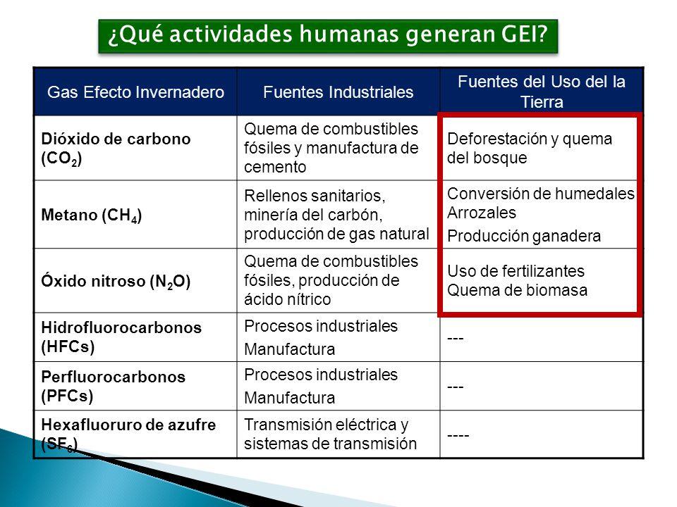 ¿Qué actividades humanas generan GEI.