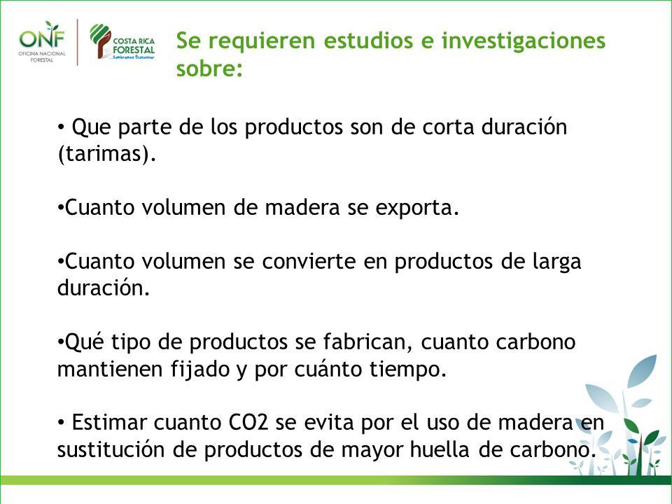 Se requieren estudios e investigaciones sobre: Que parte de los productos son de corta duración (tarimas).
