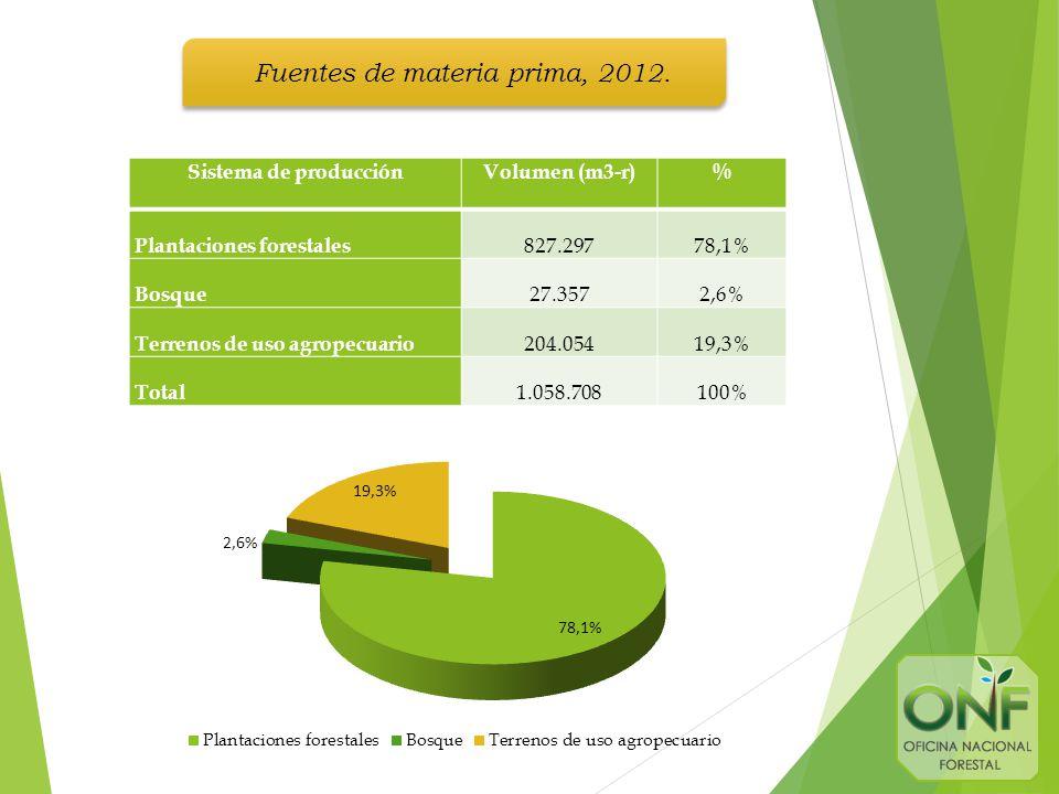 Sistema de producciónVolumen (m3-r)% Plantaciones forestales 827.29778,1% Bosque 27.3572,6% Terrenos de uso agropecuario 204.05419,3% Total 1.058.708100% Fuentes de materia prima, 2012.