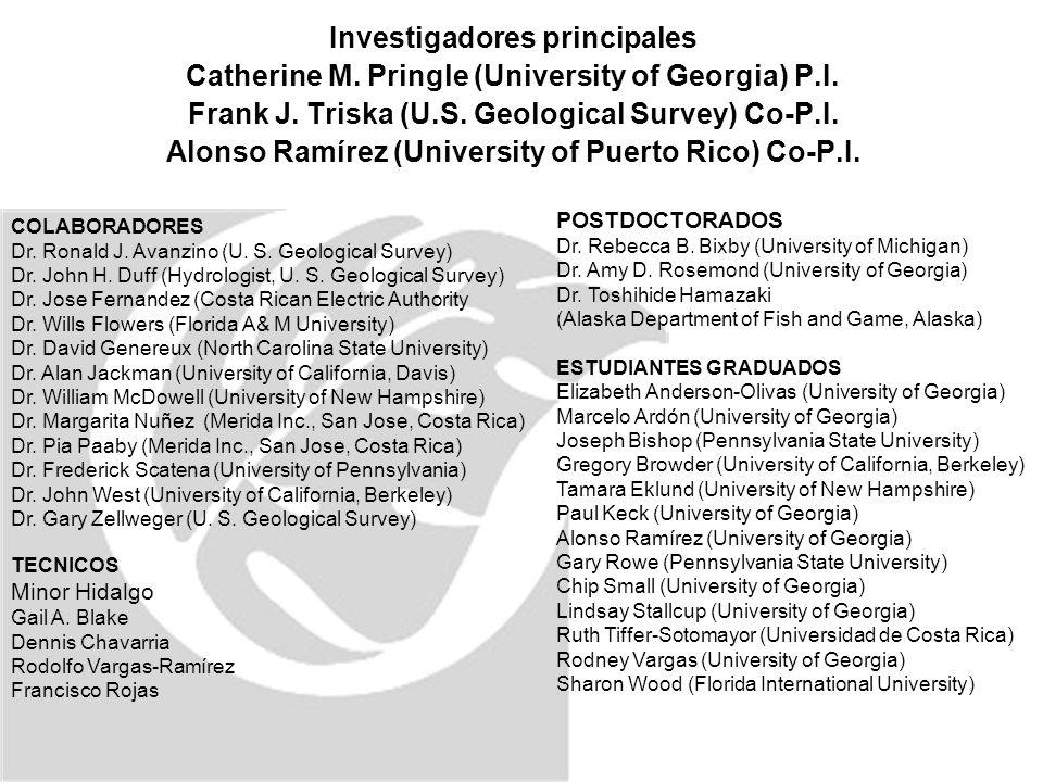 Investigadores principales Catherine M. Pringle (University of Georgia) P.I.