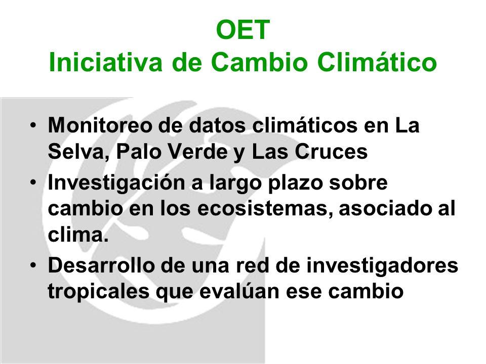 OET Iniciativa de Cambio Climático Monitoreo de datos climáticos en La Selva, Palo Verde y Las Cruces Investigación a largo plazo sobre cambio en los ecosistemas, asociado al clima.