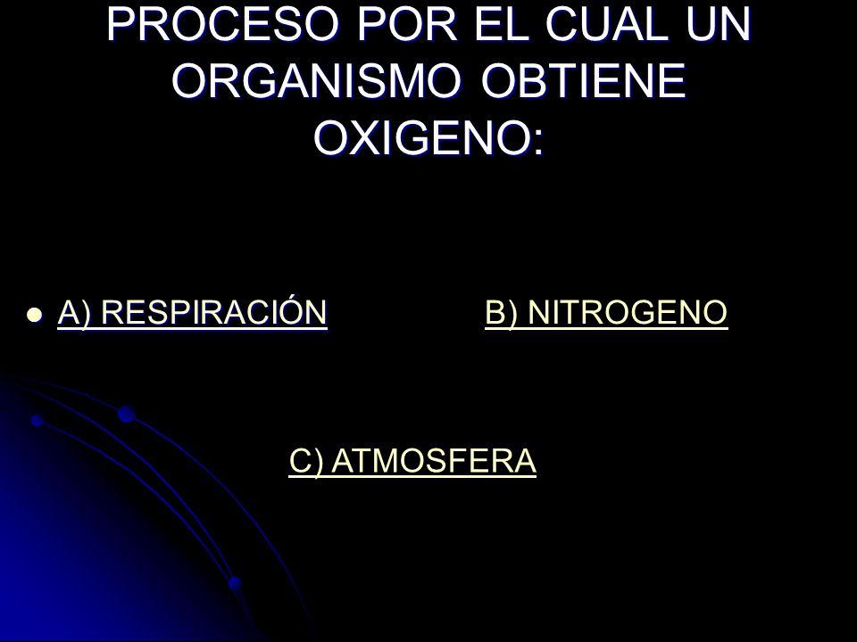 PROCESO POR EL CUAL UN ORGANISMO OBTIENE OXIGENO: A) RESPIRACIÓN A) RESPIRACIÓN A) RESPIRACIÓN A) RESPIRACIÓNB) NITROGENO C) ATMOSFERA