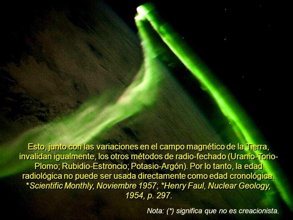 Que (*John Joly, Físico del Trinity College) sugiera que (también) el ritmo de desintegración del Uranio se ha modificado en varios de los periodos geológicos, descarta, si es que fueran válidas, toda posibilidad de calcular con exactitud, la edad, por métodos radioactivos. *A.