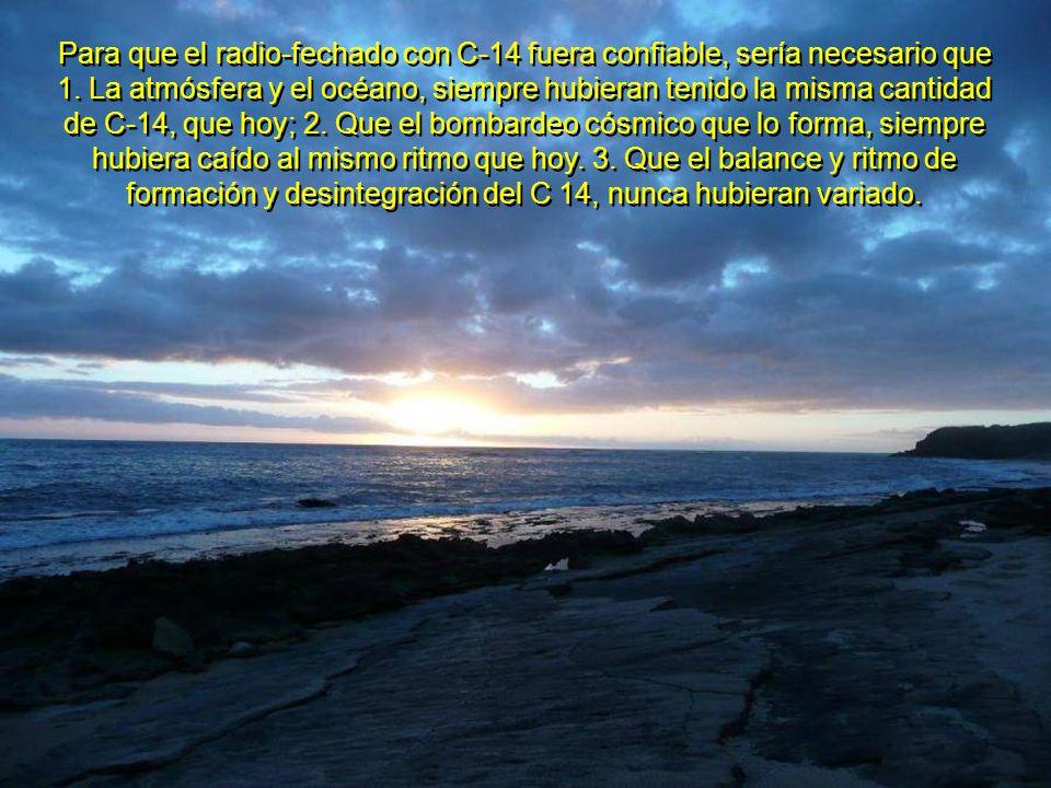 Esto, junto con las variaciones en el campo magnético de la Tierra, invalidan igualmente, los otros métodos de radio-fechado (Uranio-Torio- Plomo; Rubidio-Estroncio; Potasio-Argón).