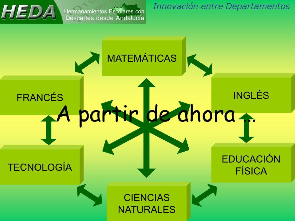 MATEMÁTICAS CIENCIAS NATURALES TECNOLOGÍA FRANCÉS INGLÉS EDUCACIÓN FÍSICA Innovación entre Departamentos A partir de ahora …