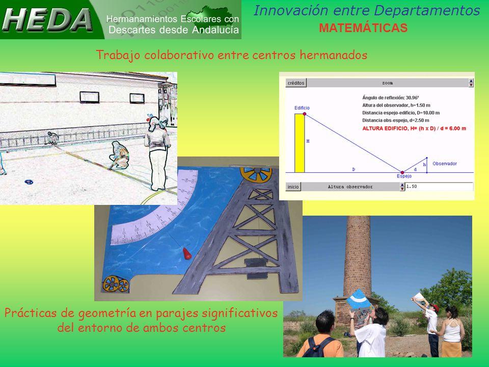 Innovación entre Departamentos Trabajo colaborativo entre centros hermanados Prácticas de geometría en parajes significativos del entorno de ambos centros MATEMÁTICAS