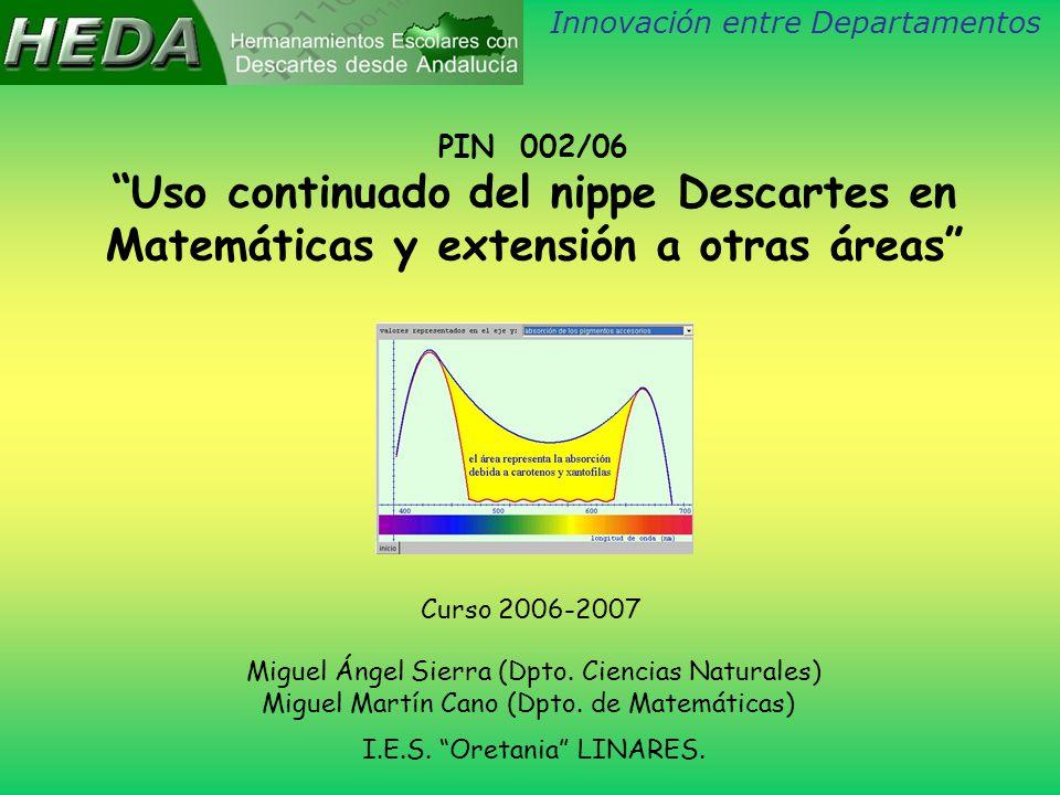 PIN 002/06 Uso continuado del nippe Descartes en Matemáticas y extensión a otras áreas Curso 2006-2007 Miguel Ángel Sierra (Dpto.