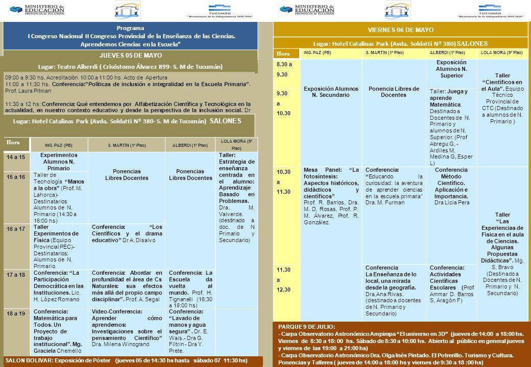 Programa I Congreso Nacional II Congreso Provincial de la Enseñanza de las Ciencias.