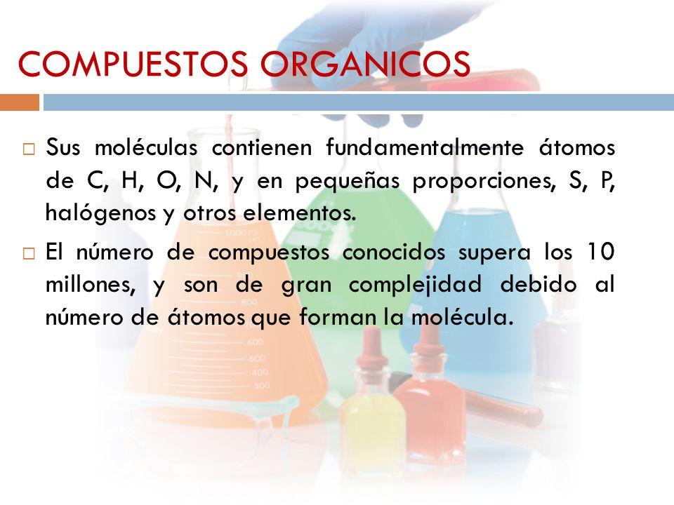  Sus moléculas contienen fundamentalmente átomos de C, H, O, N, y en pequeñas proporciones, S, P, halógenos y otros elementos.