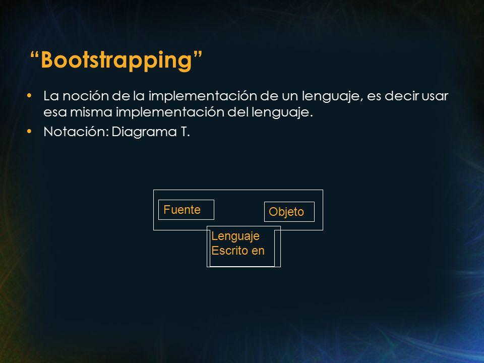 Bootstrapping La noción de la implementación de un lenguaje, es decir usar esa misma implementación del lenguaje.