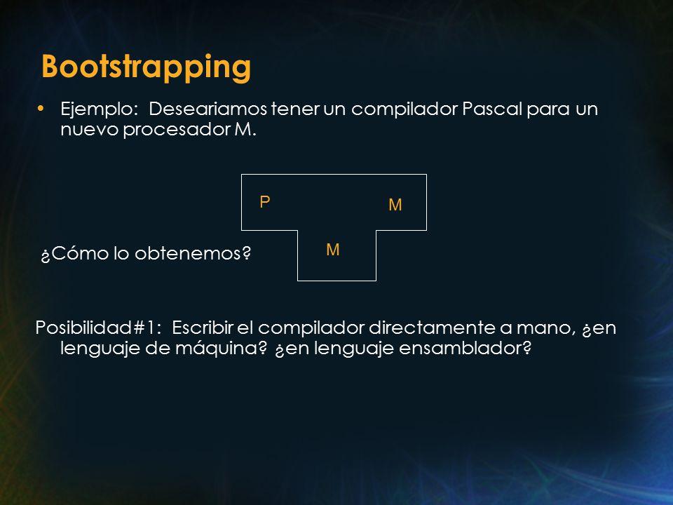 Bootstrapping Ejemplo: Deseariamos tener un compilador Pascal para un nuevo procesador M.