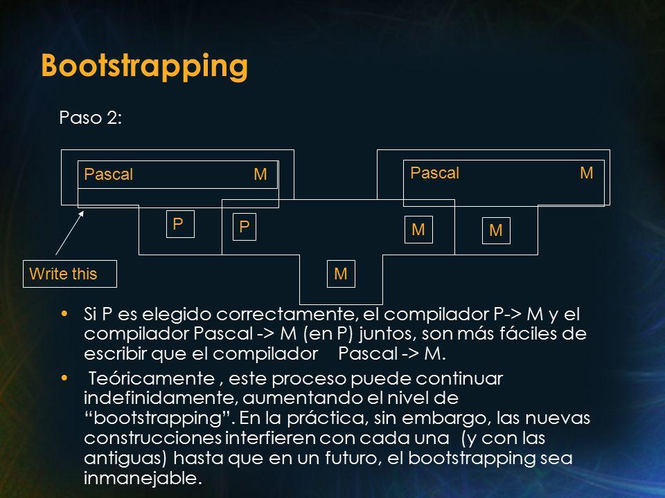 Bootstrapping Paso 2: Si P es elegido correctamente, el compilador P-> M y el compilador Pascal -> M (en P) juntos, son más fáciles de escribir que el compilador Pascal -> M.