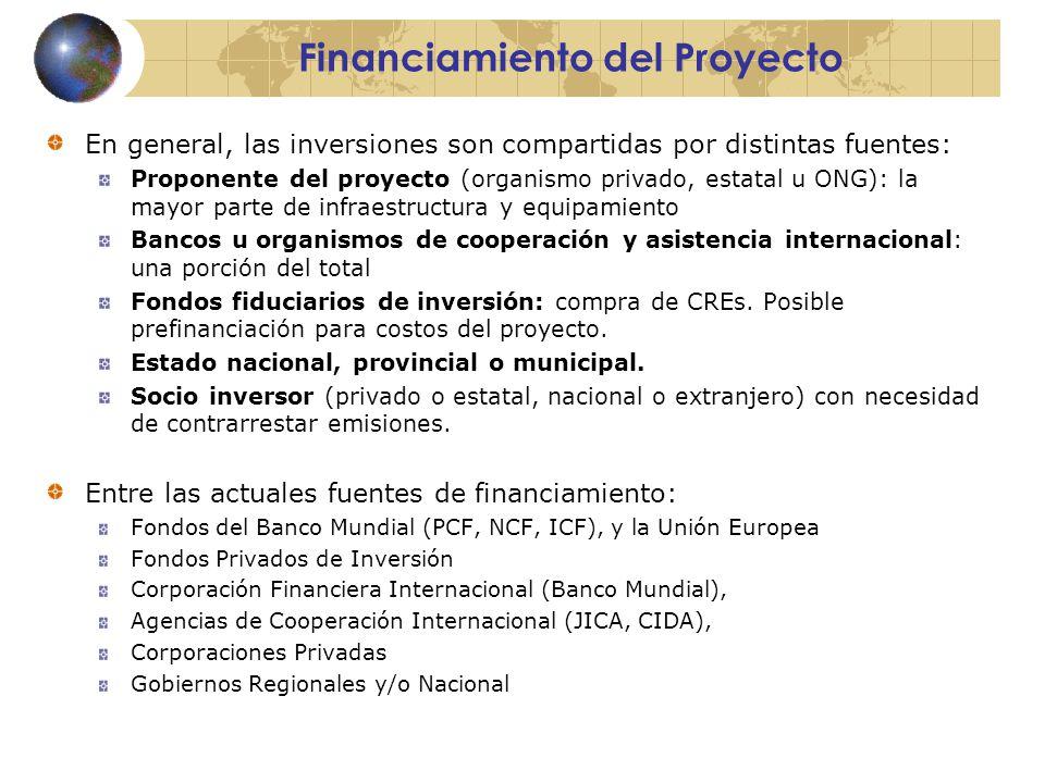 Financiamiento del Proyecto En general, las inversiones son compartidas por distintas fuentes: Proponente del proyecto (organismo privado, estatal u ONG): la mayor parte de infraestructura y equipamiento Bancos u organismos de cooperación y asistencia internacional: una porción del total Fondos fiduciarios de inversión: compra de CREs.