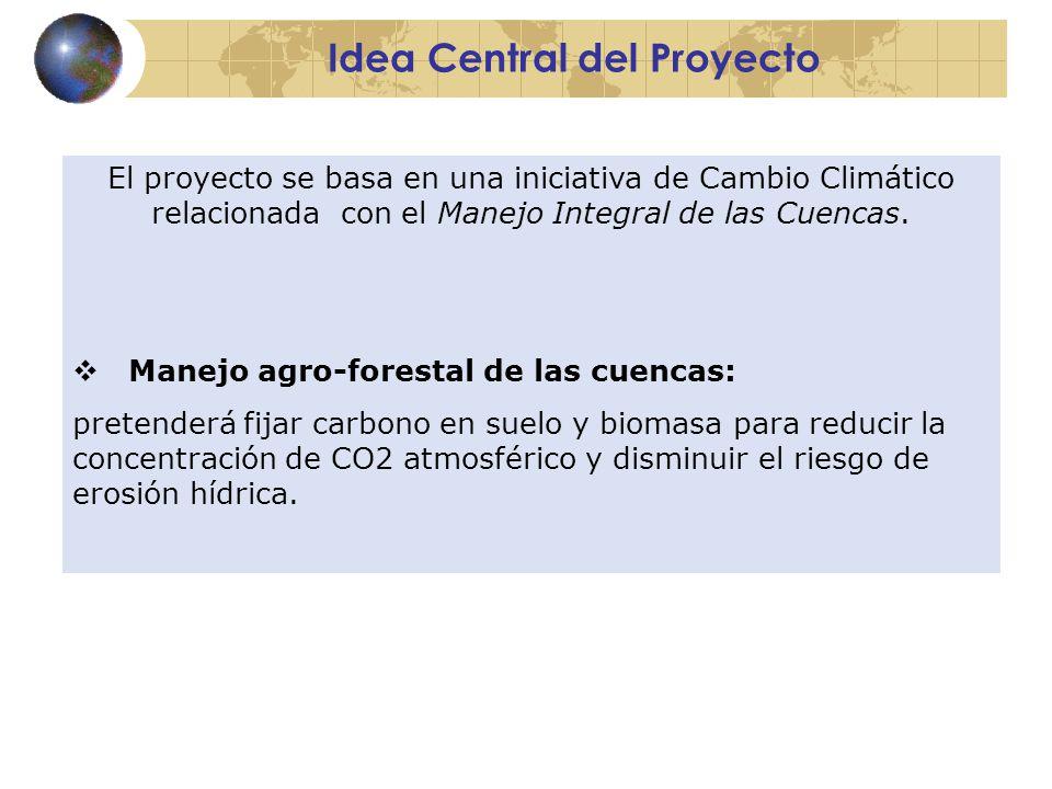 Idea Central del Proyecto El proyecto se basa en una iniciativa de Cambio Climático relacionada con el Manejo Integral de las Cuencas.
