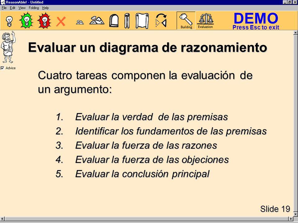 DEMO Slide 19 Press Esc to exit Evaluar un diagrama de razonamiento 1.Evaluar la verdad de las premisas 2.Identificar los fundamentos de las premisas 3.Evaluar la fuerza de las razones 4.Evaluar la fuerza de las objeciones 5.Evaluar la conclusión principal Cuatro tareas componen la evaluación de un argumento: