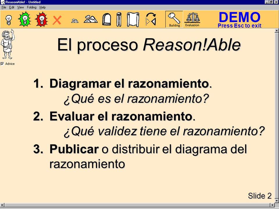 DEMO Slide 2 Press Esc to exit El proceso Reason!Able 1.Diagramar el razonamiento.