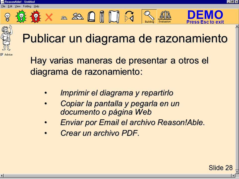 DEMO Slide 28 Press Esc to exit Publicar un diagrama de razonamiento Imprimir el diagrama y repartirloImprimir el diagrama y repartirlo Copiar la pantalla y pegarla en un documento o página WebCopiar la pantalla y pegarla en un documento o página Web Enviar por Email el archivo Reason!Able.Enviar por Email el archivo Reason!Able.