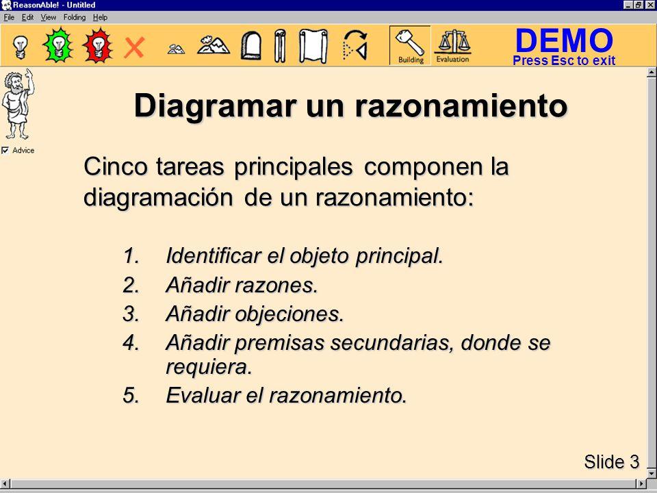 DEMO Slide 3 Press Esc to exit Diagramar un razonamiento 1.Identificar el objeto principal.