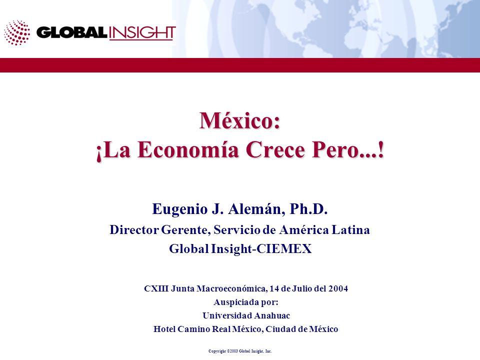 Copyright ©2003 Global Insight, Inc. México: ¡La Economía Crece Pero....