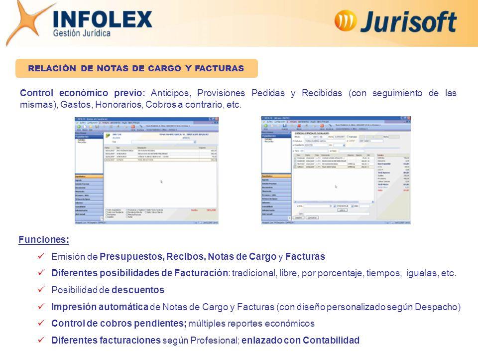 Funciones: Emisión de Presupuestos, Recibos, Notas de Cargo y Facturas Diferentes posibilidades de Facturación: tradicional, libre, por porcentaje, tiempos, igualas, etc.