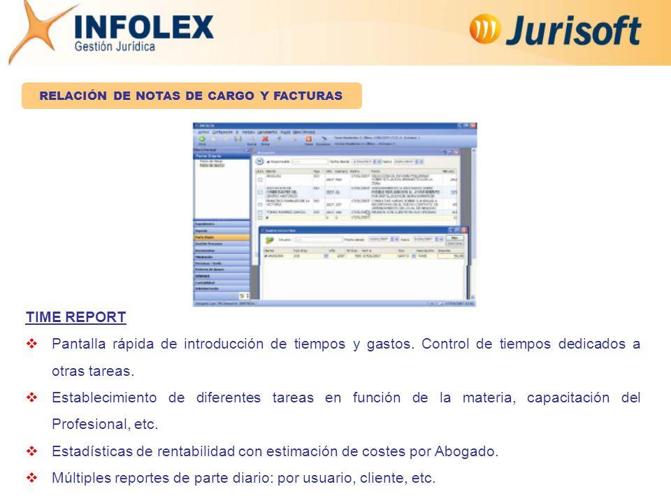 TIME REPORT  Pantalla rápida de introducción de tiempos y gastos.