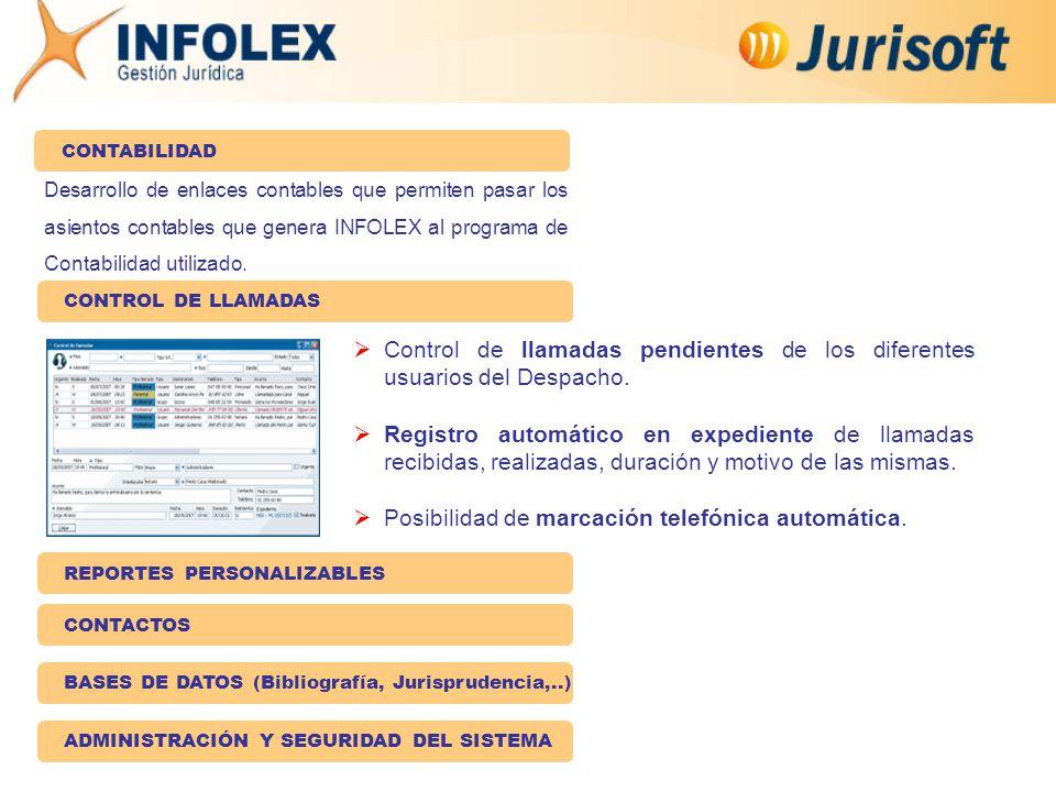 Desarrollo de enlaces contables que permiten pasar los asientos contables que genera INFOLEX al programa de Contabilidad utilizado.
