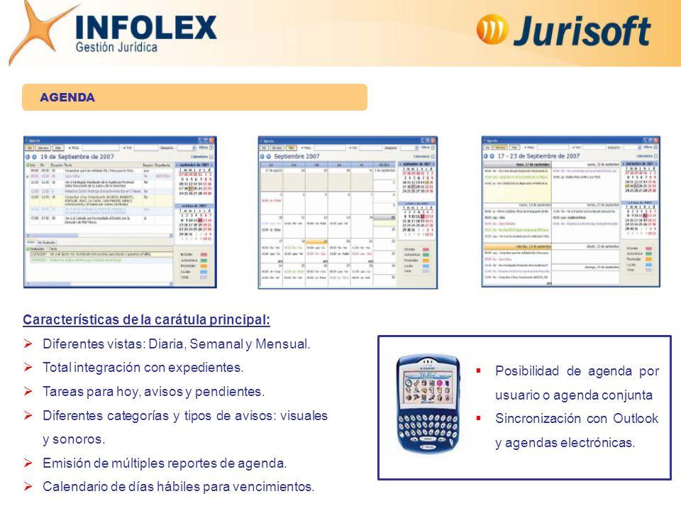 AGENDA Características de la carátula principal:  Diferentes vistas: Diaria, Semanal y Mensual.