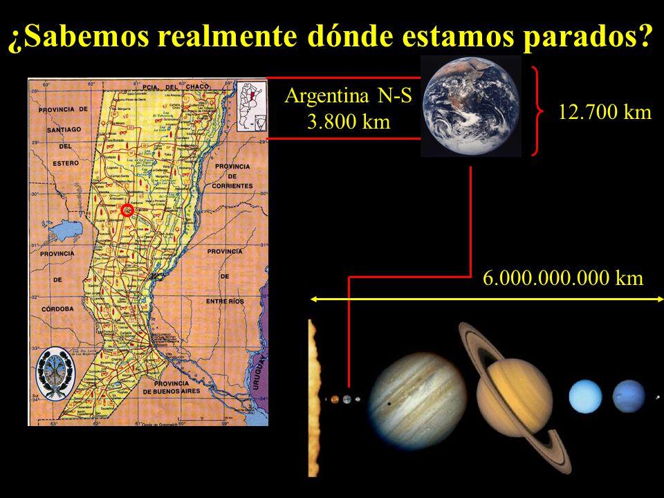 ¿Sabemos realmente dónde estamos parados 6.000.000.000 km 12.700 km Argentina N-S 3.800 km