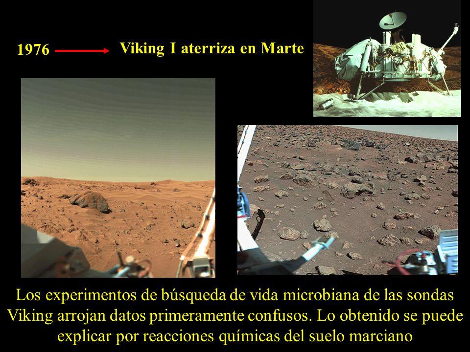 1976 Viking I aterriza en Marte Los experimentos de búsqueda de vida microbiana de las sondas Viking arrojan datos primeramente confusos.