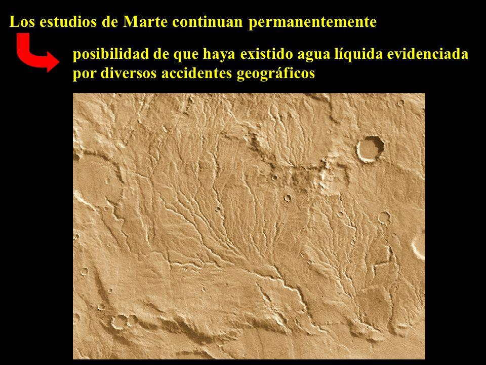 Los estudios de Marte continuan permanentemente posibilidad de que haya existido agua líquida evidenciada por diversos accidentes geográficos