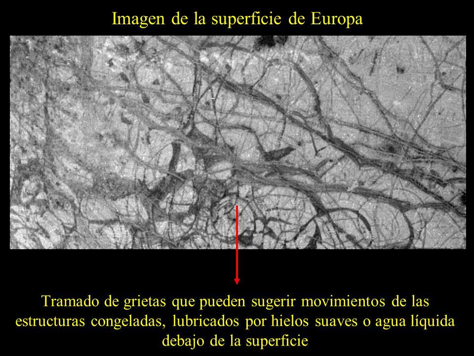 Imagen de la superficie de Europa Tramado de grietas que pueden sugerir movimientos de las estructuras congeladas, lubricados por hielos suaves o agua líquida debajo de la superficie