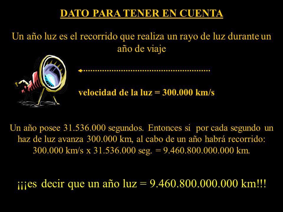 Un año luz es el recorrido que realiza un rayo de luz durante un año de viaje Un año posee 31.536.000 segundos.