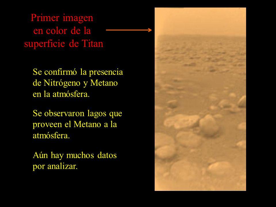 Primer imagen en color de la superficie de Titan Se confirmó la presencia de Nitrógeno y Metano en la atmósfera.