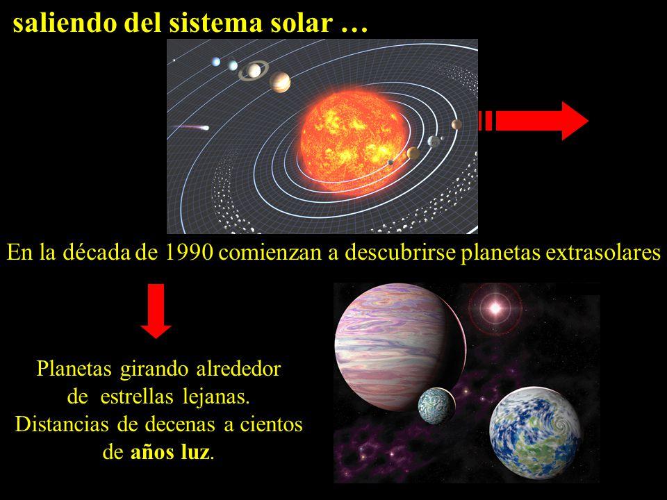 saliendo del sistema solar … En la década de 1990 comienzan a descubrirse planetas extrasolares Planetas girando alrededor de estrellas lejanas.