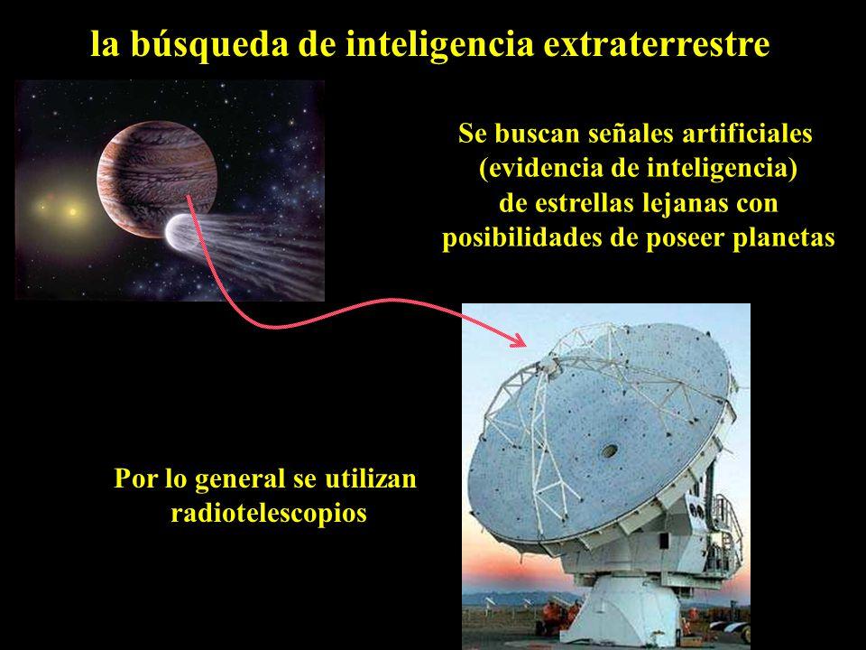 la búsqueda de inteligencia extraterrestre Por lo general se utilizan radiotelescopios Se buscan señales artificiales (evidencia de inteligencia) de estrellas lejanas con posibilidades de poseer planetas