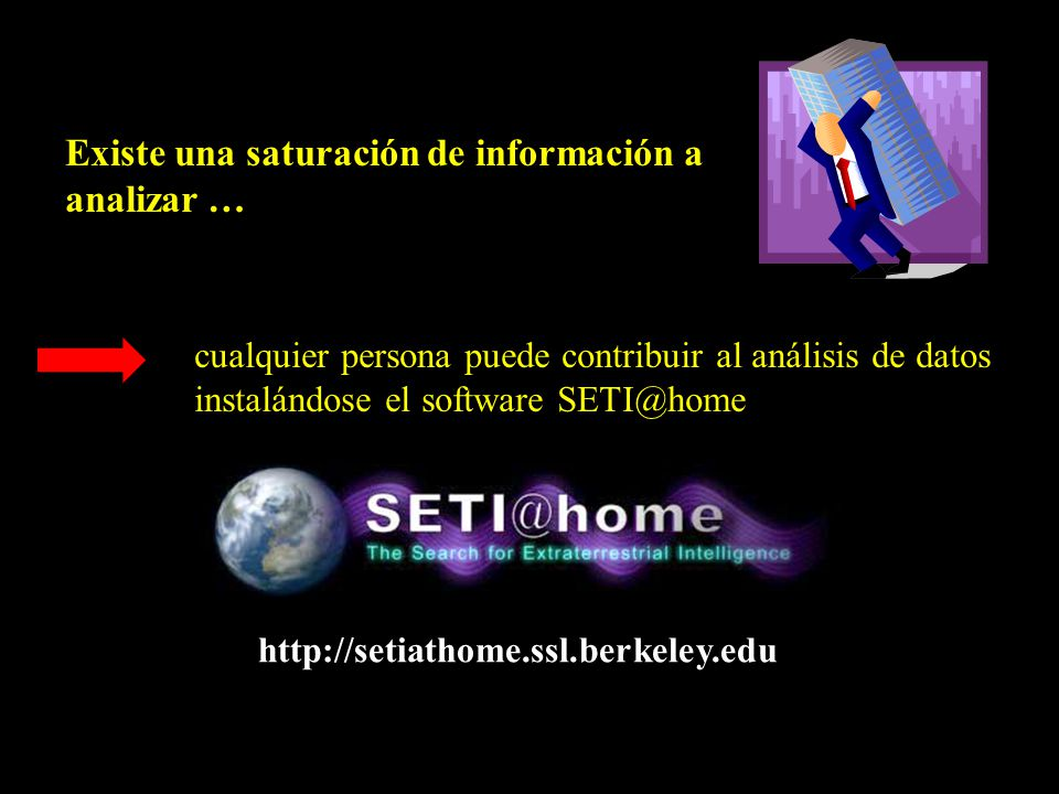 cualquier persona puede contribuir al análisis de datos instalándose el software SETI@home http://setiathome.ssl.berkeley.edu Existe una saturación de información a analizar …