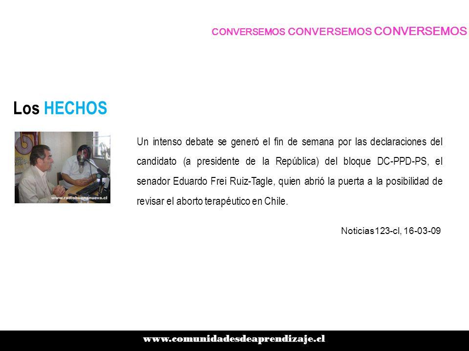 Los HECHOS Un intenso debate se generó el fin de semana por las declaraciones del candidato (a presidente de la República) del bloque DC-PPD-PS, el senador Eduardo Frei Ruiz-Tagle, quien abrió la puerta a la posibilidad de revisar el aborto terapéutico en Chile.