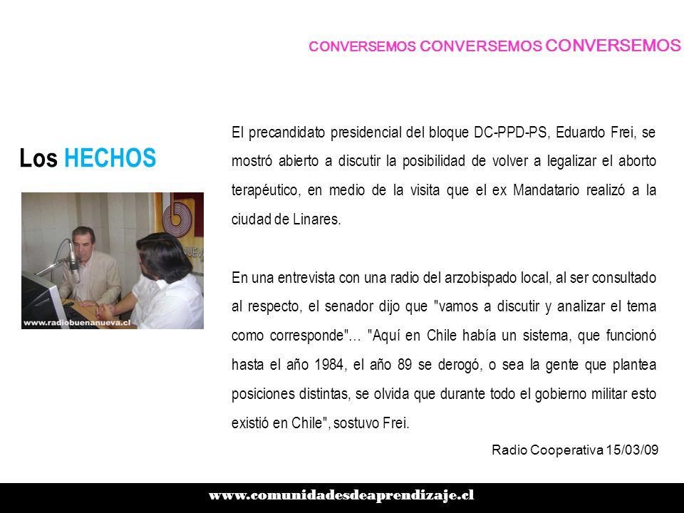 Los HECHOS El precandidato presidencial del bloque DC-PPD-PS, Eduardo Frei, se mostró abierto a discutir la posibilidad de volver a legalizar el aborto terapéutico, en medio de la visita que el ex Mandatario realizó a la ciudad de Linares.