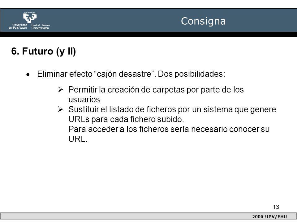 13 Consigna 2006 UPV/EHU 6. Futuro (y II)  Eliminar efecto cajón desastre .