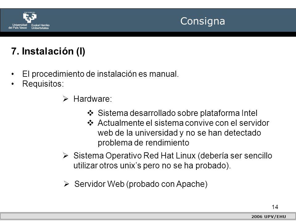 14 Consigna 2006 UPV/EHU 7. Instalación (I) El procedimiento de instalación es manual.