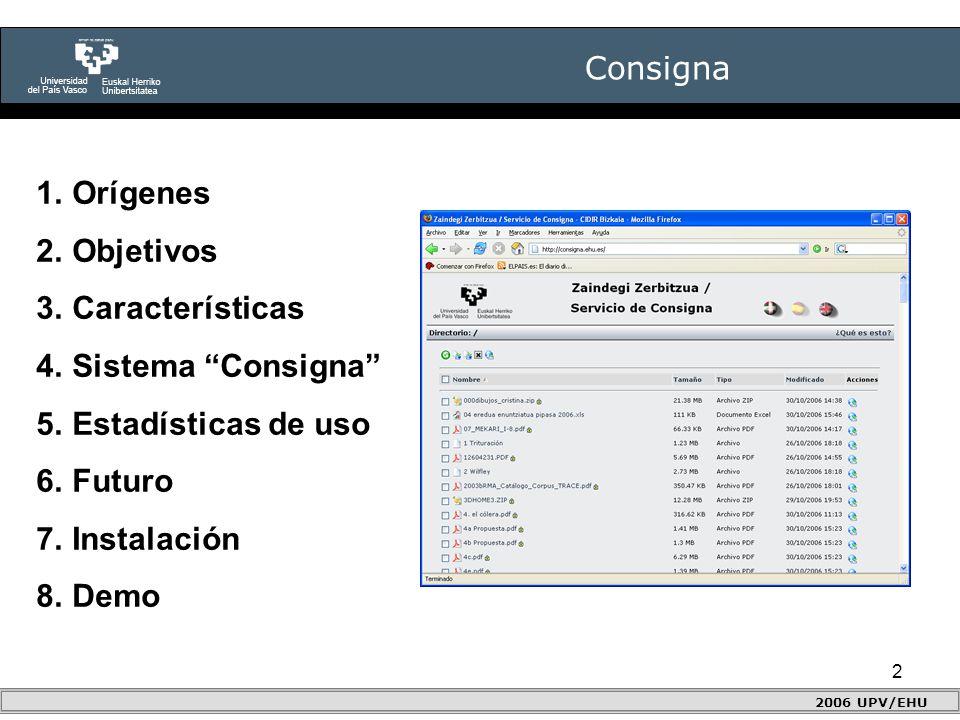 2 Consigna 2006 UPV/EHU 1.Orígenes 2.Objetivos 3.Características 4.Sistema Consigna 5.Estadísticas de uso 6.Futuro 7.Instalación 8.Demo