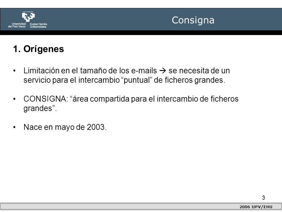 3 Consigna 2006 UPV/EHU 1.Orígenes Limitación en el tamaño de los e-mails  se necesita de un servicio para el intercambio puntual de ficheros grandes.