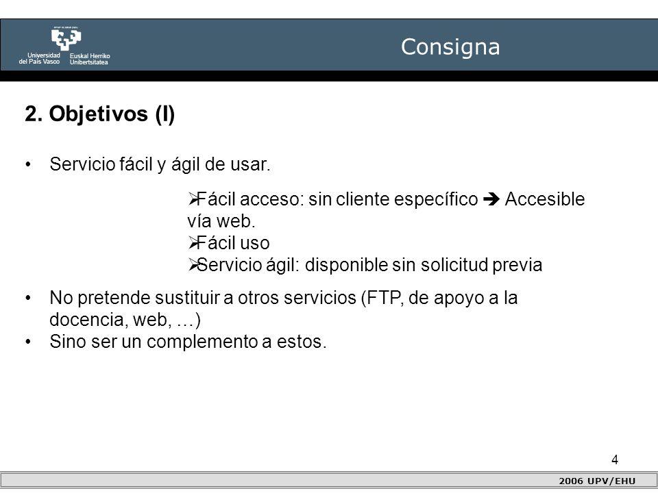 4 Consigna 2006 UPV/EHU 2. Objetivos (I) Servicio fácil y ágil de usar.