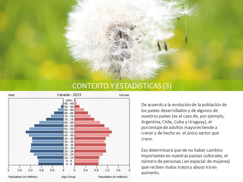 CONTEXTO Y ESTADISTICAS (3) De acuerdo a la evolución de la población de los países desarrollados y de algunos de nuestros países (es el caso de, por ejemplo, Argentina, Chile, Cuba y Uruguay), el porcentaje de adultos mayores tiende a crecer y de hecho es el único sector que crece.