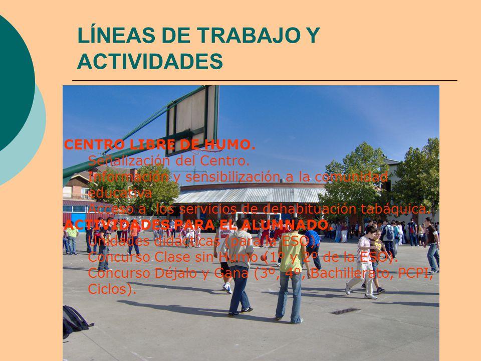 LÍNEAS DE TRABAJO Y ACTIVIDADES CENTRO LIBRE DE HUMO.