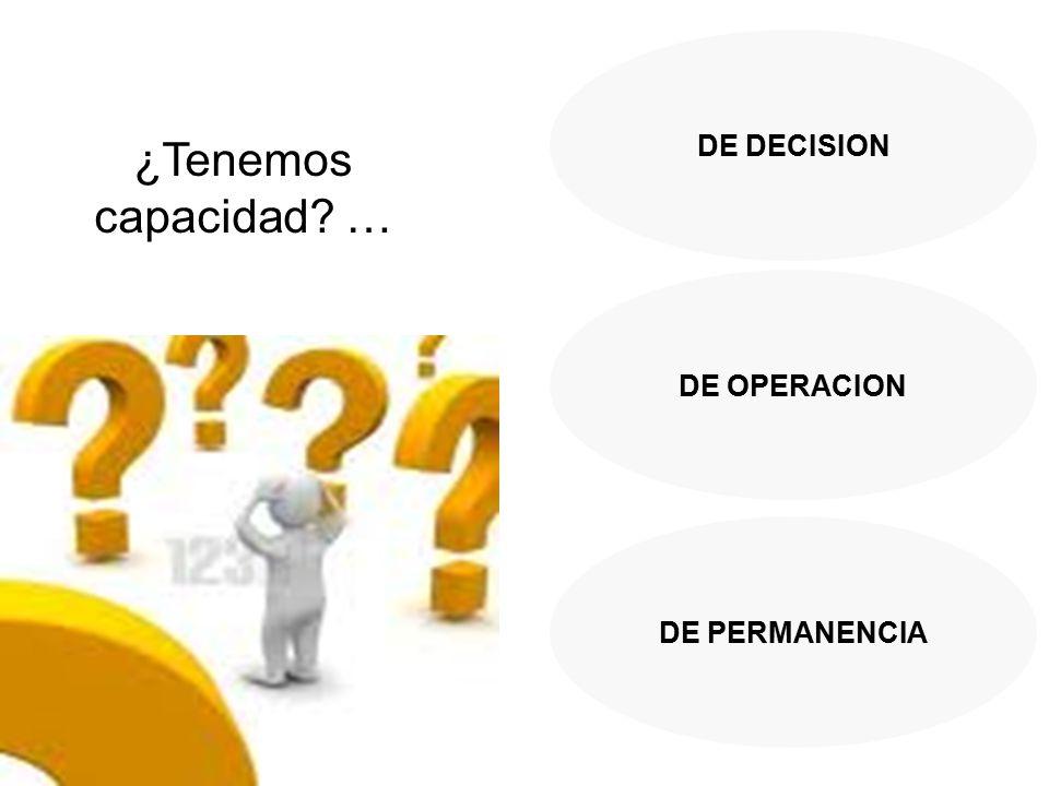 DE DECISION DE OPERACION DE PERMANENCIA ¿Tenemos capacidad …