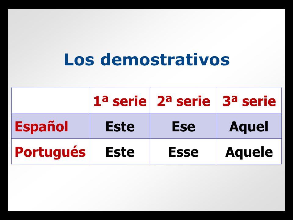 Los demostrativos 1ª serie2ª serie3ª serie EspañolEsteEseAquel PortuguésEsteEsseAquele