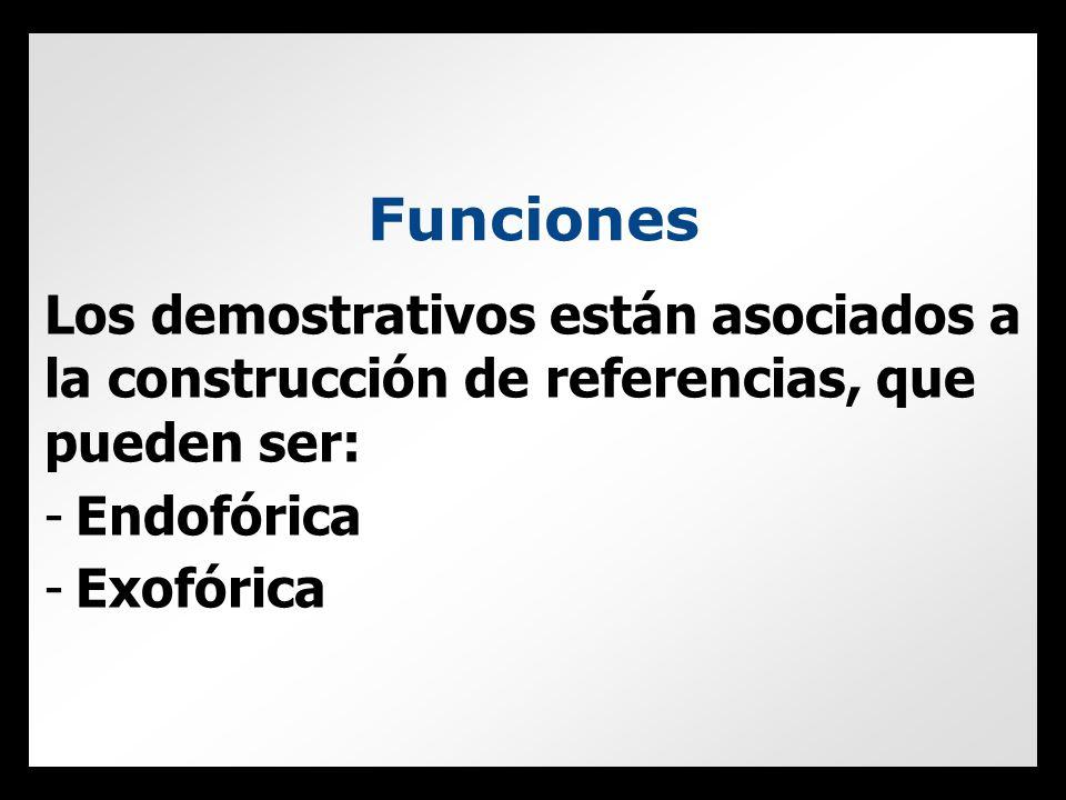 Funciones Los demostrativos están asociados a la construcción de referencias, que pueden ser: -Endofórica -Exofórica