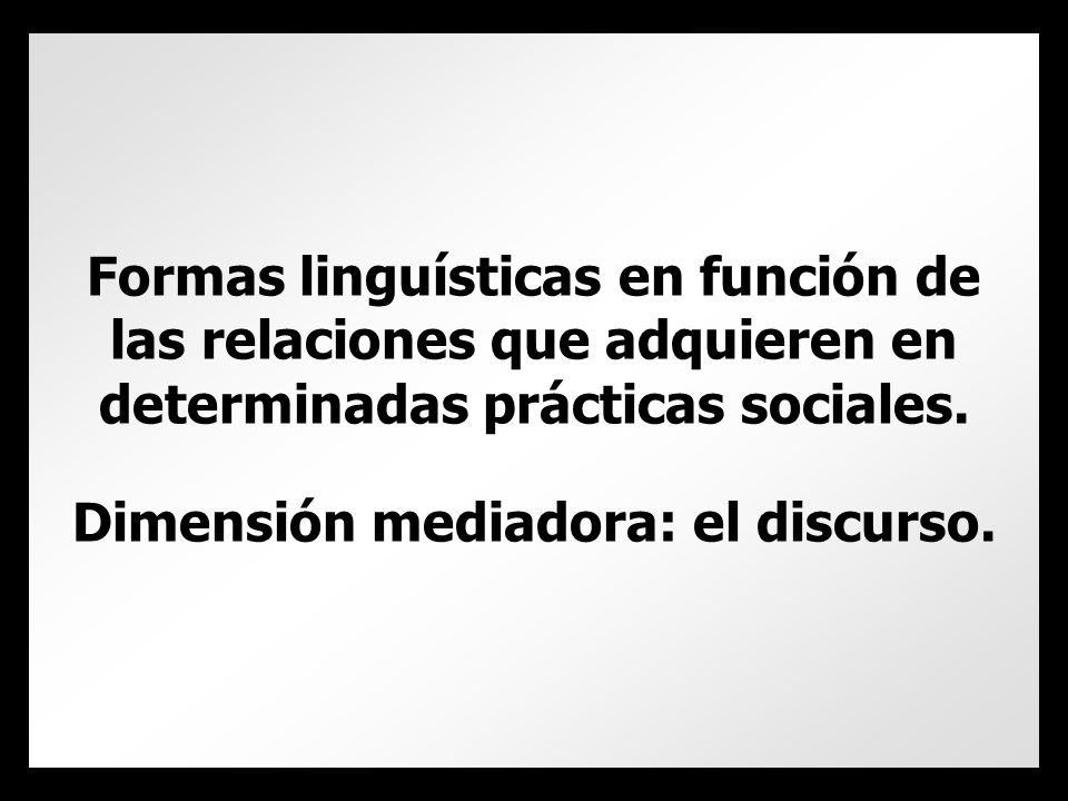 Formas linguísticas en función de las relaciones que adquieren en determinadas prácticas sociales.